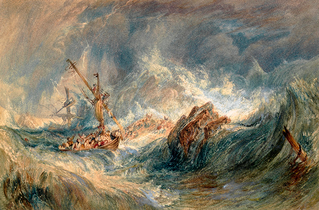 JOSEPH MALLORD WILLIAM TURNER ~  The Storm (or Shipwreck)   Watercolour and bodycolour on board 4⅞ x 7⅜ inches (125 x 189 mm)