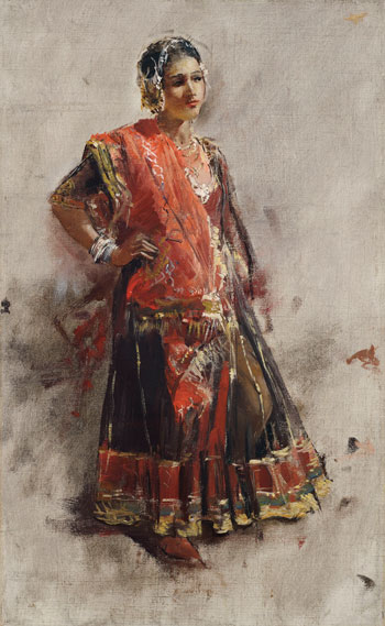 EDWIN LORD WEEKS    Indian Dancing Girl   Oil on canvas 16 x 9¾ inches (41 x 24.8 cm)  SOLD