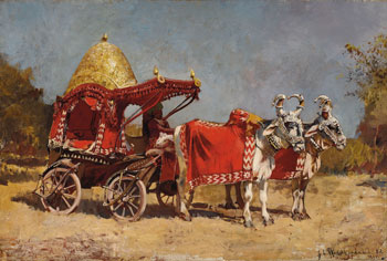 EDWIN LORD WEEKS      Native Gharry, Ahmedabad  (1882)  Oil on canvas 20½ x 30½ inches (52 x 77.4 cm)  SOLD