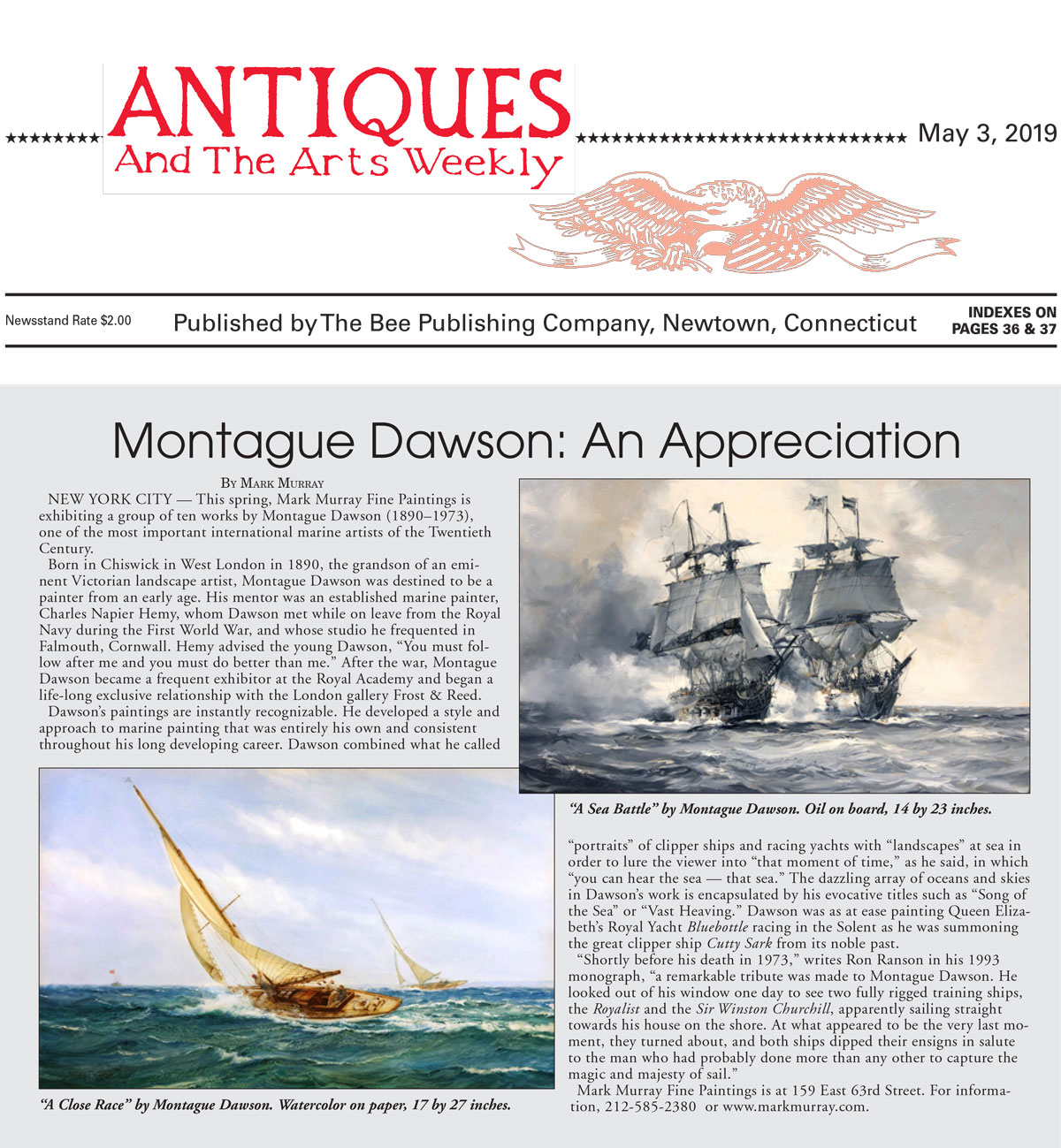 Antiques and Arts Weekly - Montague Dawson