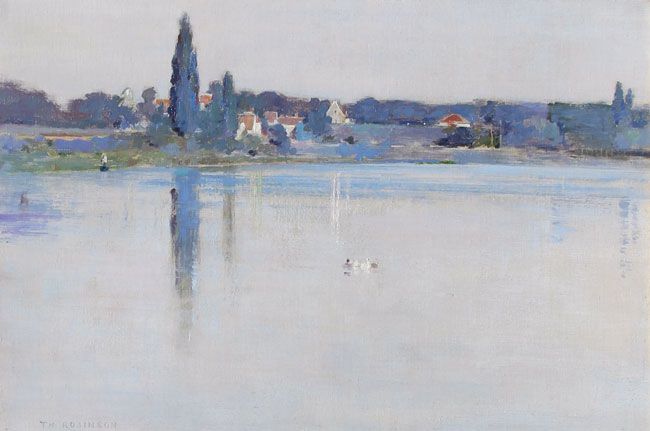 THEODORE ROBINSON  River Seine at Boissise-la-Bertrand   Oil on canvas 12 x 18 inches (30.5 x 46 cm) P.O.R. Click here for more information