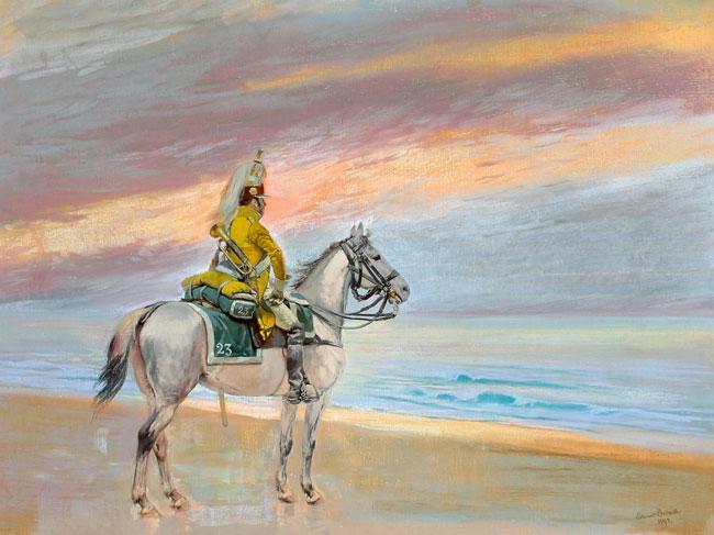 ÉDOUARD DETAILLE    Chevalier sur la Plage   Pastel on linen 23¾ x 32 inches (60 x 81 cm) $28,000 Click here for more information