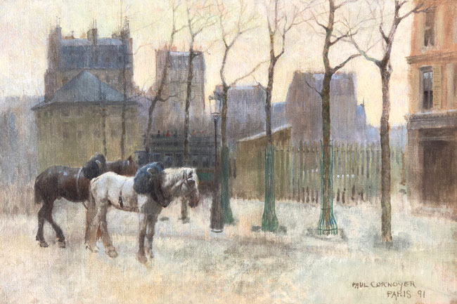 PAUL CORNOYER  Paris in Winter  (1891)  Oil on canvas 17 x 25 inches (43 x 63.5 cm) $58,000 Click here for more information