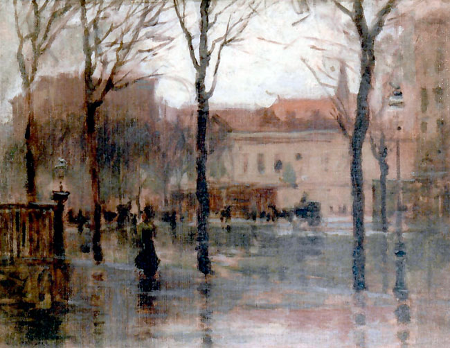 PAUL CORNOYER  Rainy Day, New York   Oil on canvas board 12 x 16 inches (30.5 x 40.8 cm)  SOLD