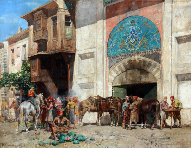 ALBERTO PASINI     Entrance to the Bazaar   Oil on canvas 10¾ x 13¾ inches (27.3 x 35 cm) $165,000 Click here for more information