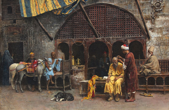 EDWIN LORD WEEKS  At the Barber's     Oil on canvas 24 x 37 inches (61 x 94 cm) $165,000 Click here for more information