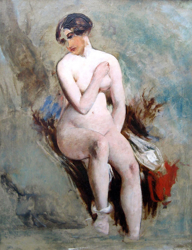 WILLIAM ETTY  Seated Nude   Oil on board 25¼ x 19¾ inches (64 x 49.8 cm) $17,000 Click here for more information