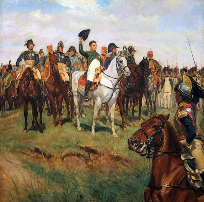 ÉDOUARD DETAILLE    Napoleon Reviewing his Troops, Battle of Friedland  (after Meissonier)  Oil on canvas 28 x 28 inches (71 x 71 cm) $45,000 Click here for more information
