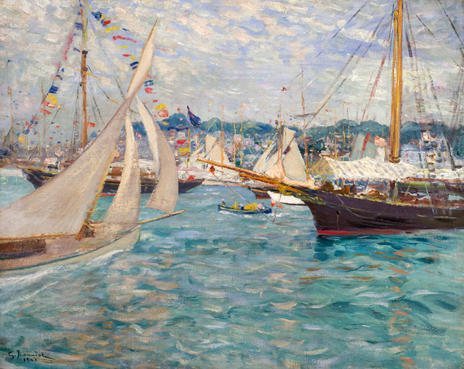 PIERRE GEORGES JEANNIOT    The Regatta  (1903)  Oil on canvas 26 x 32 inches (66 x 81.3 cm)    SOLD