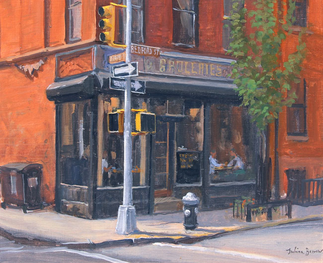 JULIAN BARROW  West Village Corner Store   Oil on canvas 10 x 12 inches (25.3 x 30.5 cm) $4,500 Click here for more information