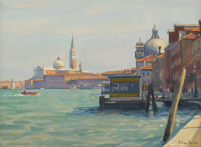 JULIAN BARROW    San Giorgio & The Giudecca, Venice   Oil on canvas 11 x 15 inches (27.9 x 38 cm) $5,800 Click here for more information