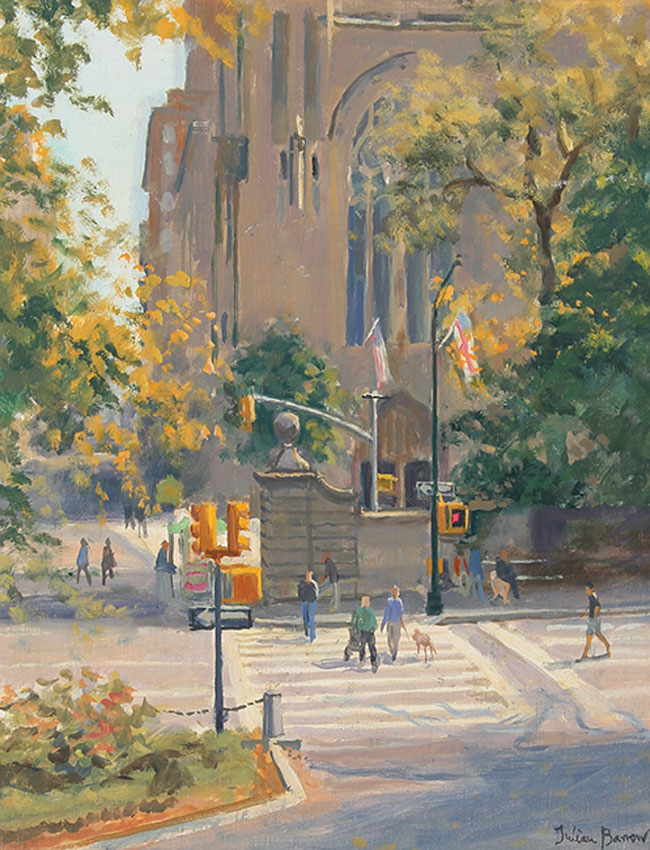 JULIAN BARROW  Church of the Heavenly Rest, New York   Oil on canvas 14 x 11 inches (35.5 x 28 cm)  SOLD