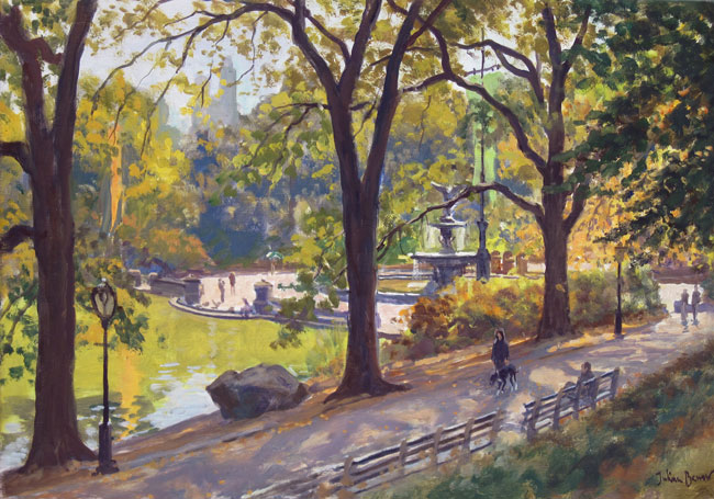 JULIAN BARROW    Bethesda Fountain, Central Park, New York   Oil on canvas 14 x 20 inches (35.6 x 50.8 cm)  SOLD