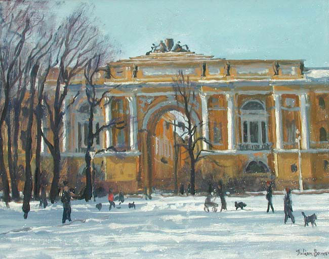 JULIAN BARROW  The Admiralty, St. Petersburg   Oil on canvas 8 x 10 inches (20.2 x 25.3 cm)  SOLD