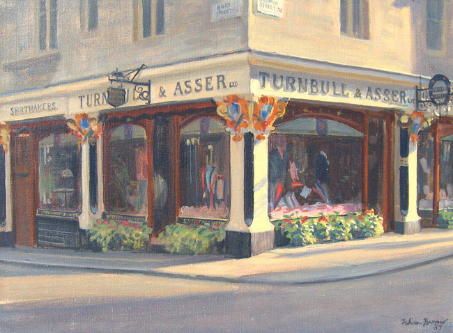JULIAN BARROW  Turnbull & Asser, Jermyn Street, London   Oil on canvas 12 x 16 inches (30.5 x 40.6 cm)  SOLD