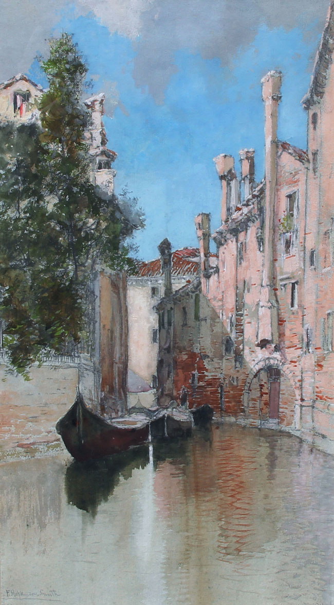 FRANCIS HOPKINSON SMITH    A Venetian Canal   Gouache and watercolor on paper 25½ x 14¾ inches (64.8 x 37.5 cm) $27,000 Click here for more information