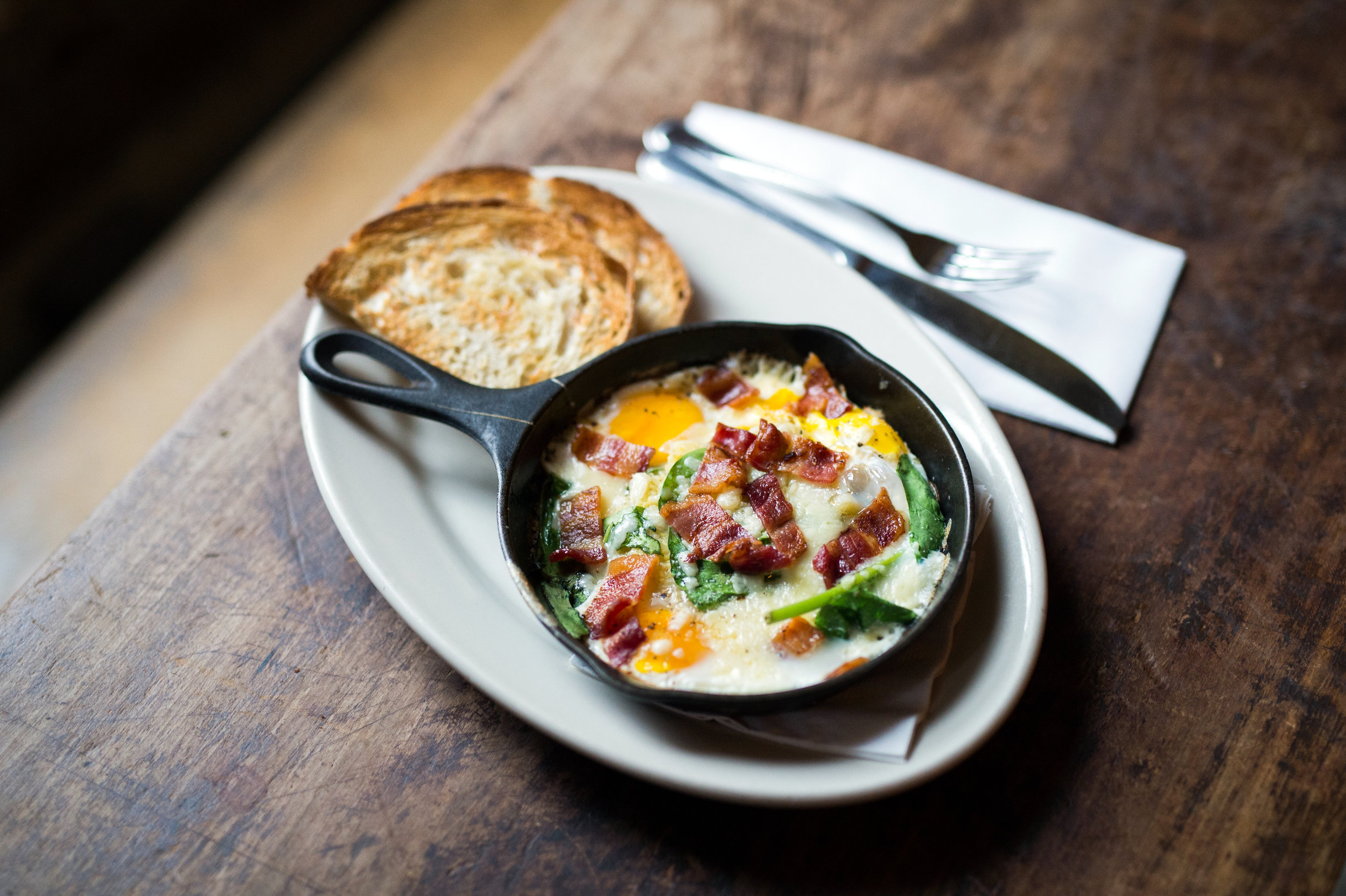 Skillet Eggs with Bacon, Spinich, and Cheese     Photo Download