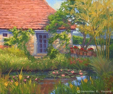 """Quiet Reflection, Southern France"", Oil on linen, 20x24"" © Jennifer Young"