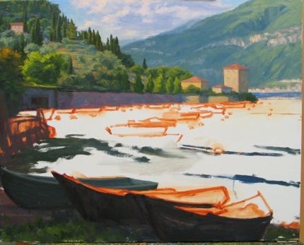 lake como painting in progress by Jennifer Young