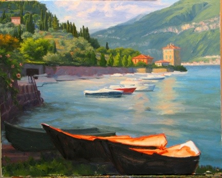 painting-in-progress of Pescallo Italy