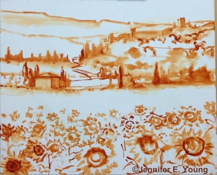 Tuscany sunflowers painting in progress by Jennifer E. Young