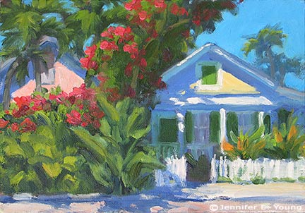 """""""Towering Bougainvillea"""" Oil on canvas panel, 6x8"""" ©Jennifer Young"""