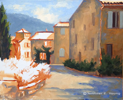 Provence France village painting in progress by Jennifer E Young