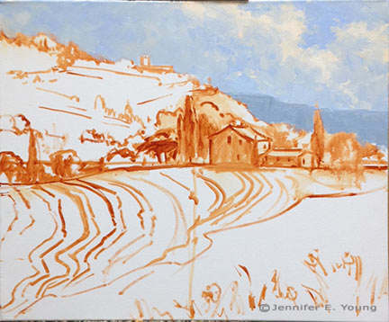 Tuscany landscape painting in progress by Jennifer E. Young