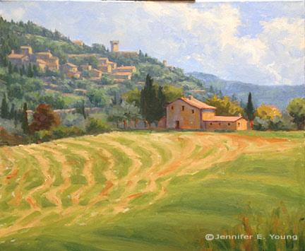 Tuscany landscape painting in progress by Jennifer E Young