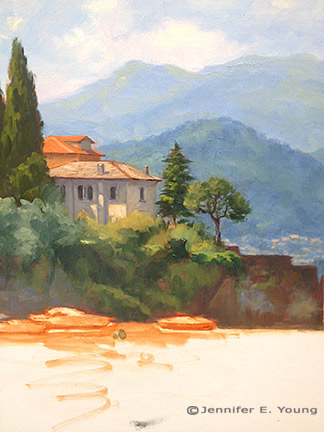 Varenna Italian landscape painting by Jennifer Young