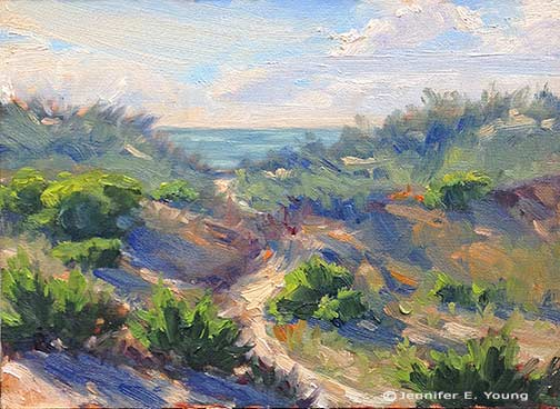 """Hatteras Dunes, Study I"" 6x8"" Oil on Canvas  Jennifer E Young"