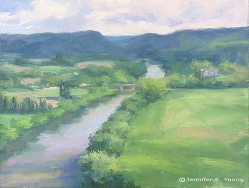 """Dordogne River"" (Study) Oil on canvas, 9x12"" ©Jennifer Young"
