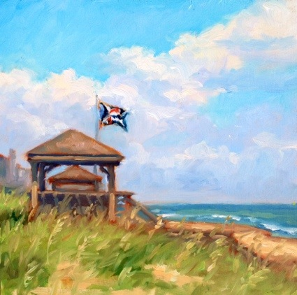 """Good Morning Jolly Roger"", Oil on panel, 8x8"" (NFS) ©Jennifer E Young"