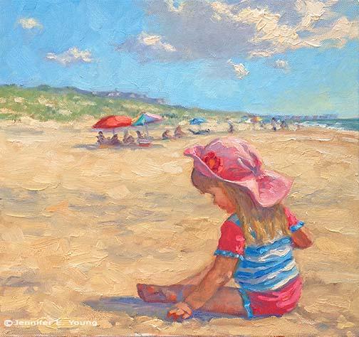 """Sand Play"" (NFS) Oil on Canvas, 12x12""©  Jennifer E Young"
