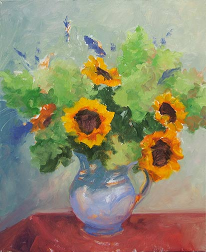 Floral still life painting in progress by Jennifer E. Young