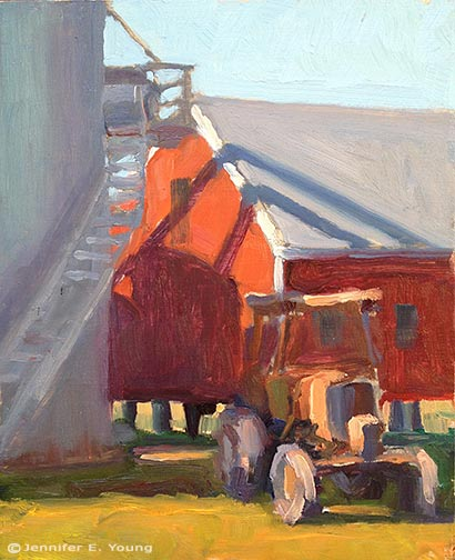 """Silo Shadows"" Oil on panel, 10x8"" ©Jennifer Young"