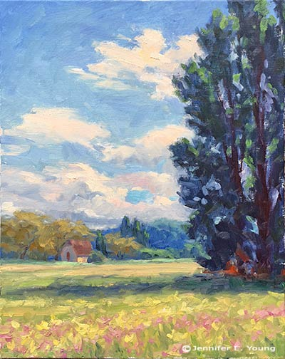 """Dordogne Breeze"" Oil on Linen, 20x16 ©Jennifer E Young"