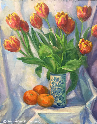 Still life floral painting demo by Jennifer E Young
