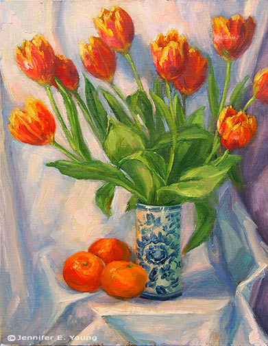 """Tulips and Mandarins"" Oil on Linen, 14x11"" ©J ennifer E Young"