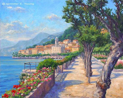 """""""Bellagio Promenade"""" Oil on Linen, 24x30"""" Jennifer E Young"""