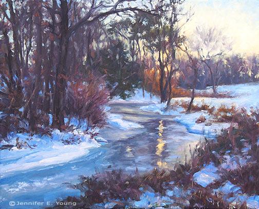 """Winter Sunset, North Run Creek"", Oil on linen, 16x20"" ©Jennifer Young"