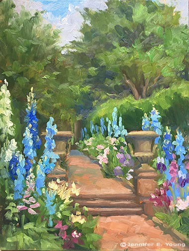 """""""Delphiniums at Redesdale"""" Oil on panel, 12x9""""  Jennifer E Young"""