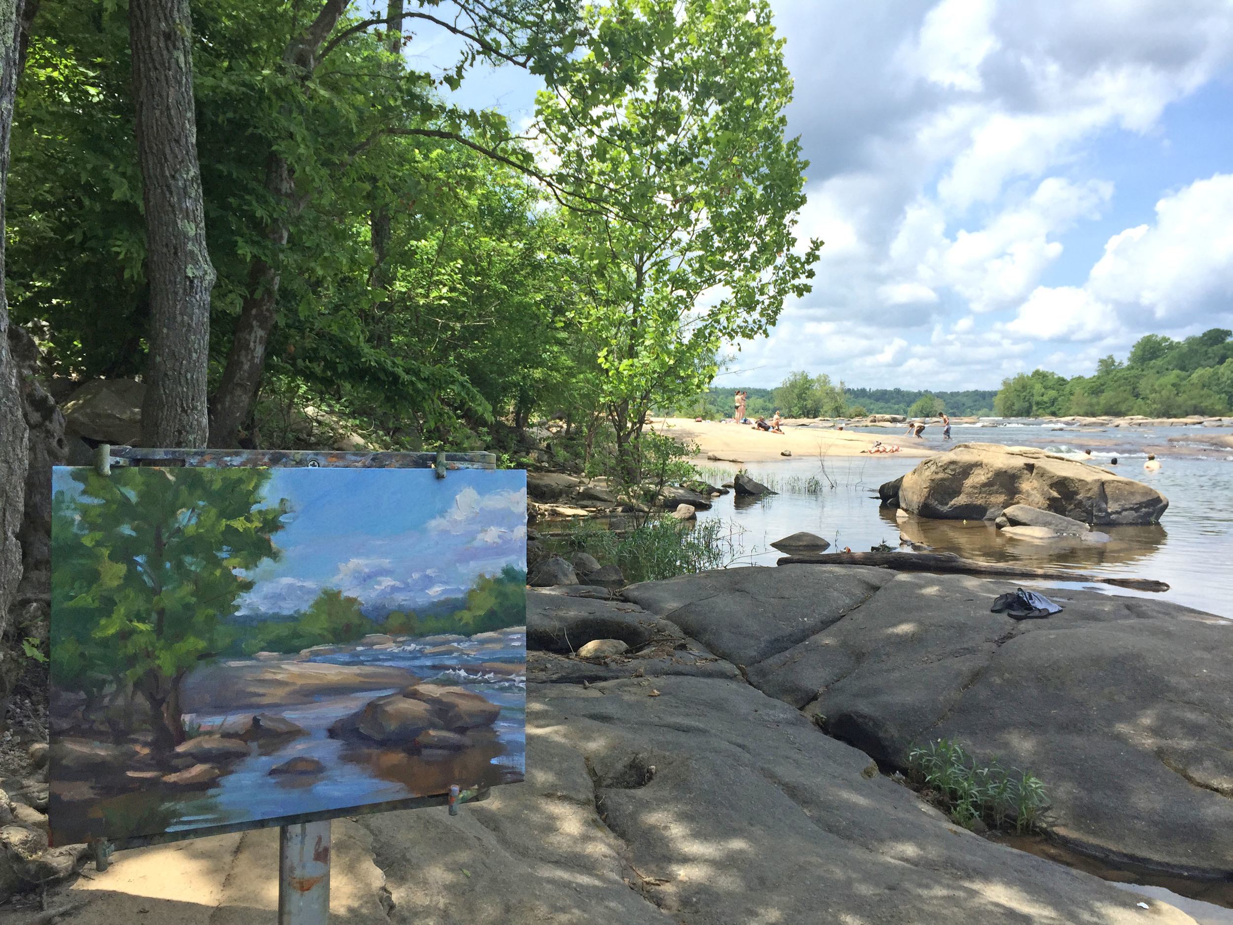 James River Painting in progress by Jennifer E Young