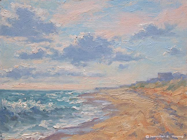 """""""Morning Surf"""" Oil on Canvas, 9x12""""  ©Jennifer E. Young, All rights reserved"""