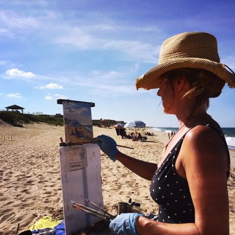 Plein air painting at Nags Head. Image credit Hidden Outer Banks