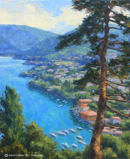 """Bellagio From Above"" Oil on linen, 20x16"" ©Jennifer E Young"