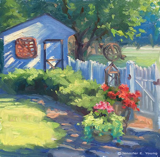 """Just Out Back"" Oil on linen, 12x12""©Jennifer Young"