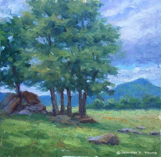 """Buffalo Mountain View"" , oil on linen, 8x8""  ©Jennifer E Young"