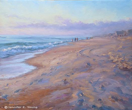 """Sunrise Stroll"", Oil on linen, 20x24"", ©Jennifer E Young"