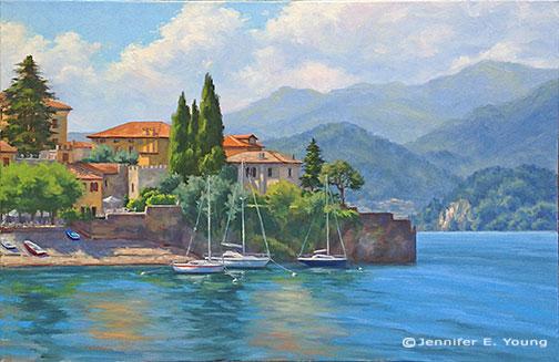 """""""Sunlit Harbor, Varenna"""" Oil on linen, 24x36"""" ©Jennifer Young"""